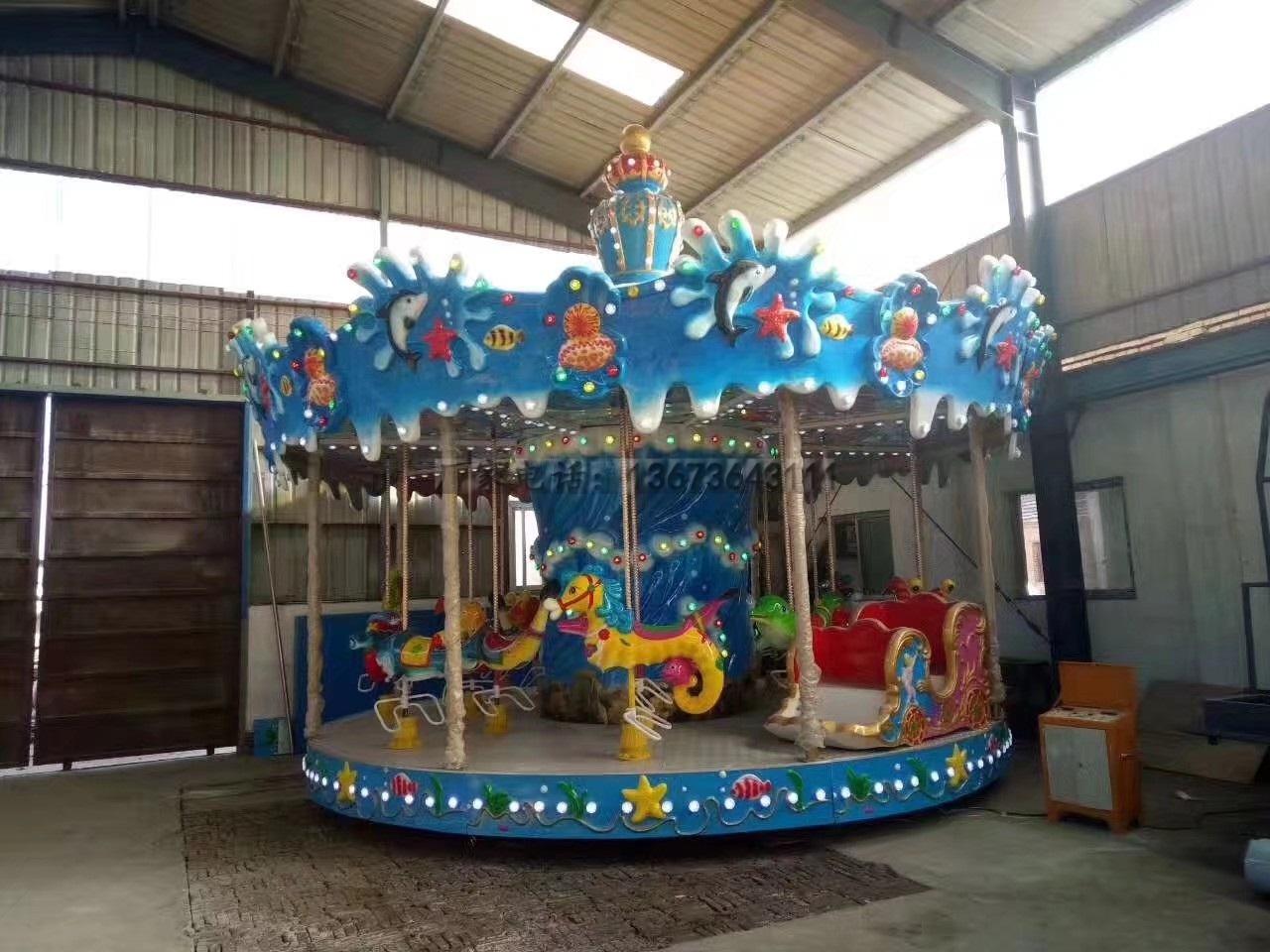 新款16座豪华转马夜景图片 儿童游乐设备旋转木马大洋生产厂家示例图8