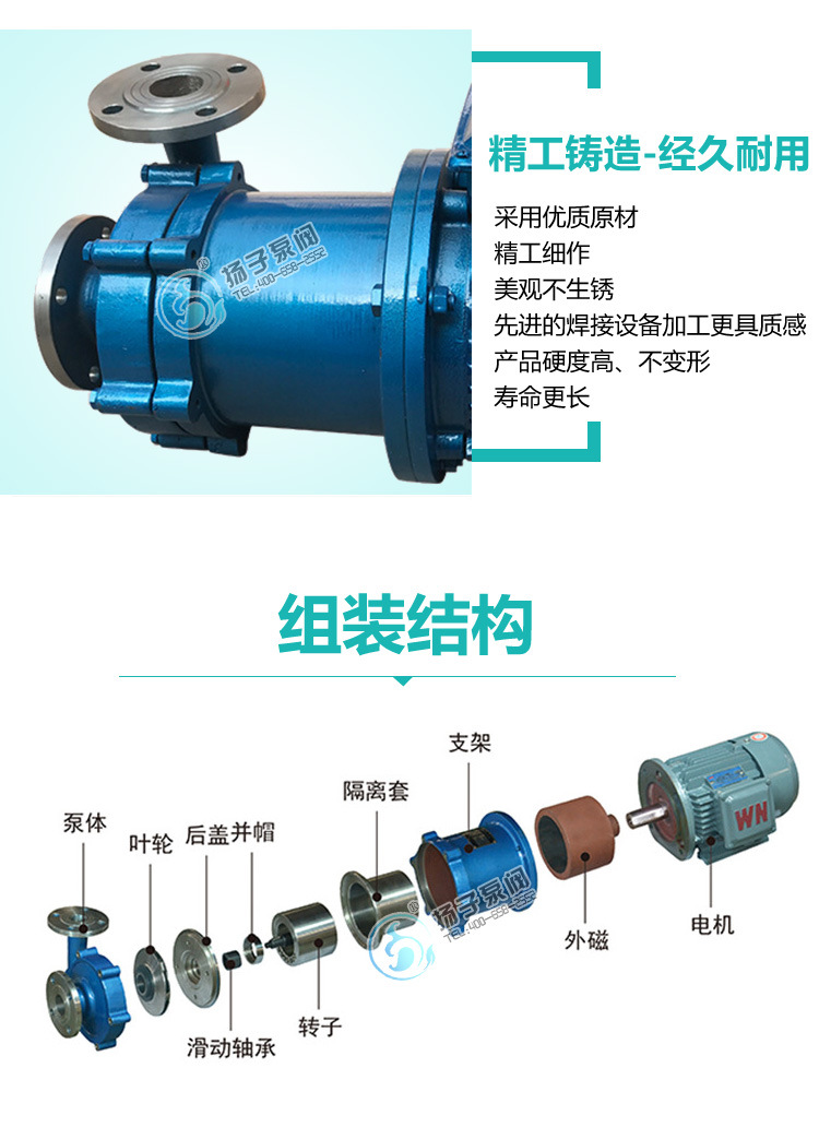 扬子CQ普通型304不锈钢磁力泵 316防腐蚀磁力泵 无泄漏磁力驱动泵示例图8
