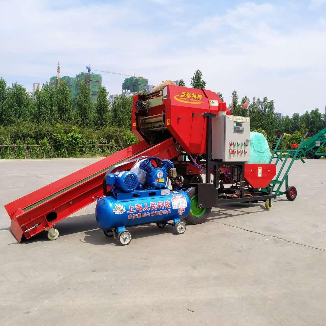 多功能牧草包膜机 青贮打包裹膜机 冬储料草打捆机
