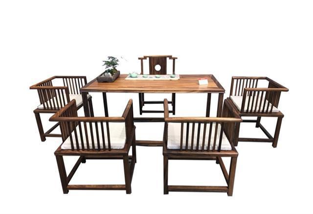 南美胡桃木茶桌六件套168*68*72可拆卖现代简约茶几竞技宝和雷竞技哪个好茶桌组合示例图15