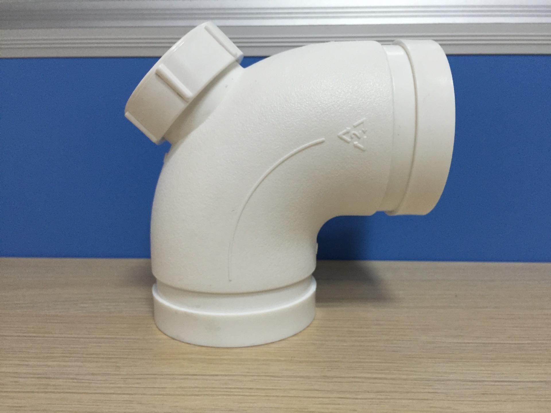 沟槽式HDPE排水管,HDPE沟槽中空管,PE排水管,90°弯头(带检)示例图6