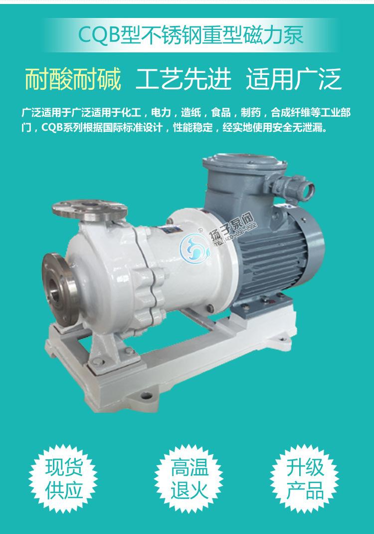 CQB重型不锈钢磁力泵 大流量 高扬程 防爆型零泄露化工泵厂家直销示例图3