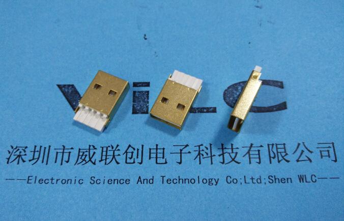 USB2.0 AM镀金双面插公头焊线式A公 白胶 正反插USB公座示例图1