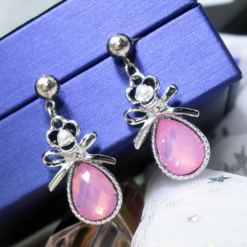 粉色鑲鉆蝴蝶結耳環甜美水滴形樹脂鉆耳墜短款耳釘耳飾女廠家直銷