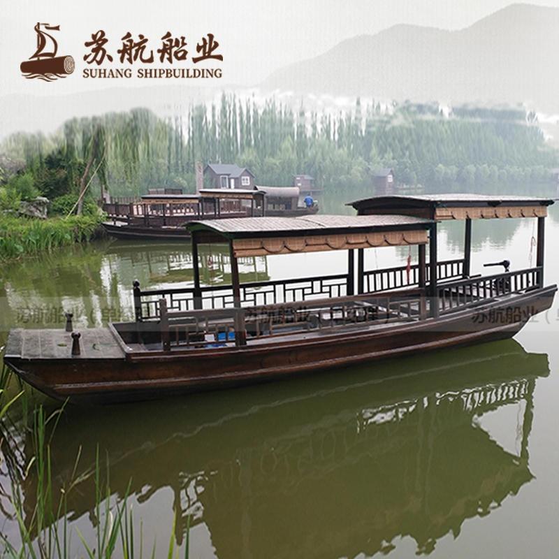 供应电动观光船 景区木质观光游船 高低篷船木船 6米摇橹船手划船 高低蓬船木质游船