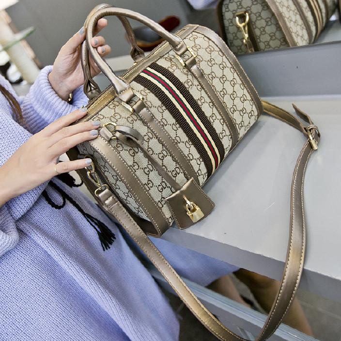 亞馬遜新款秋冬季女包歐美百搭印花枕頭包手提單肩斜挎包包直銷圖片