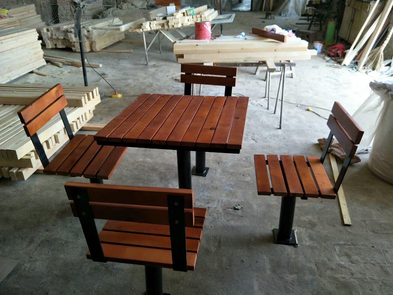 长期供应户外防腐木休闲椅 公园小区座椅 长椅 铸铁腿 实木 塑木示例图7