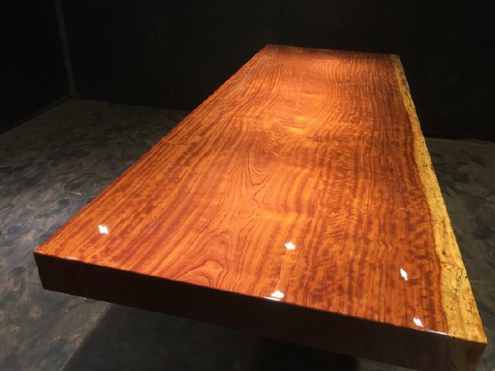 奥坎实木大板原木餐桌 中式茶桌 老板办公家具套装组合巴花大板示例图14