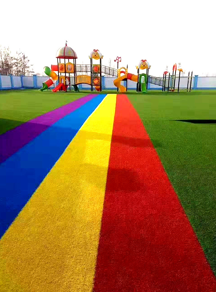 仿真草坪人造草 假草坪地毯 幼兒園彩色草皮人工塑料假草綠色戶外示例圖8