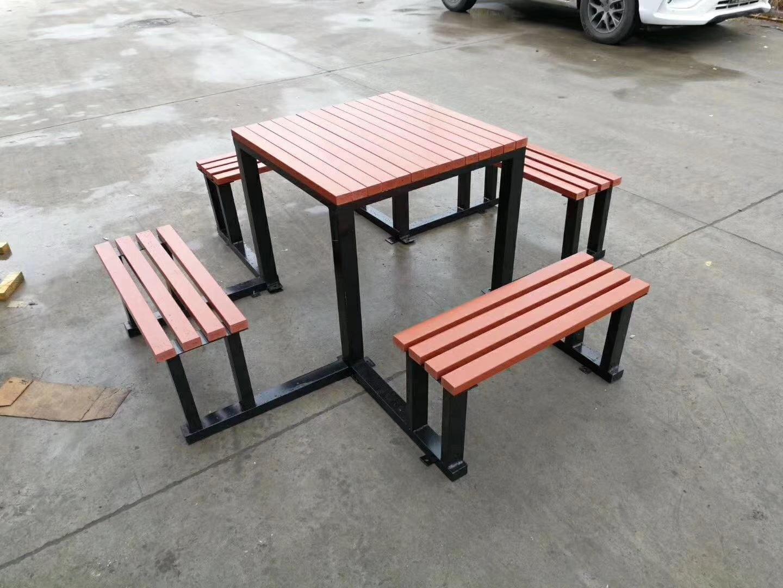 长期供应户外防腐木休闲椅 公园小区座椅 长椅 铸铁腿 实木 塑木示例图5