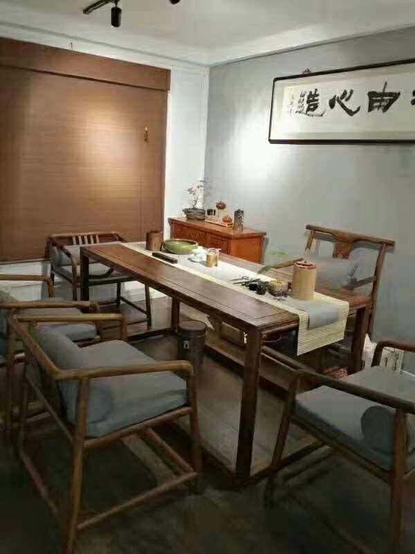 南美胡桃木精美茶桌六件套竞技宝和雷竞技哪个好原木休闲泡茶桌示例图3