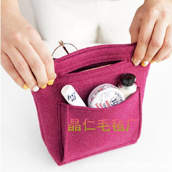 2018新款时尚纯色毛毡手提包中包 杂物整理收纳包 化妆包定制示例图5