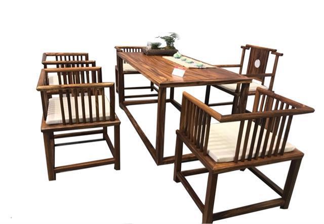 南美胡桃木茶桌六件套168*68*72可拆卖现代简约茶几竞技宝和雷竞技哪个好茶桌组合示例图16