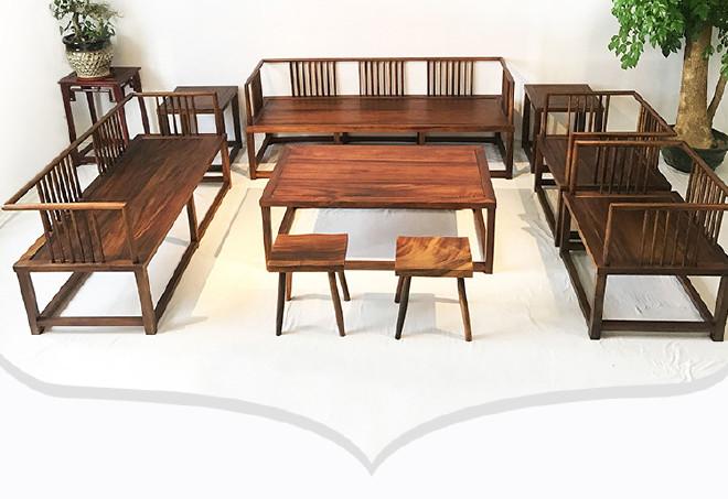 南美胡桃木沙发七件套客厅家具 新中式榫卯工艺实木沙发家具批发示例图12