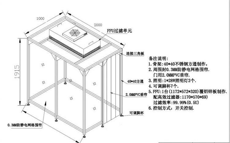潔凈棚除塵棚吸防塵棚廠家潔凈棚簡易過濾車間制造示例圖7