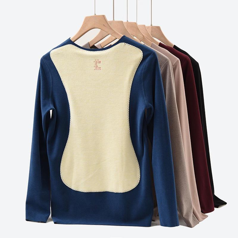 男士親膚雙面保暖T恤2019冬季新品蠶絲貼片磨絨發熱V領男式秋衣