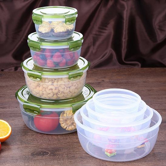 厨房塑料保鲜盒套装便当饭盒圆形塑料微波炉冰箱食品收纳密封盒图片