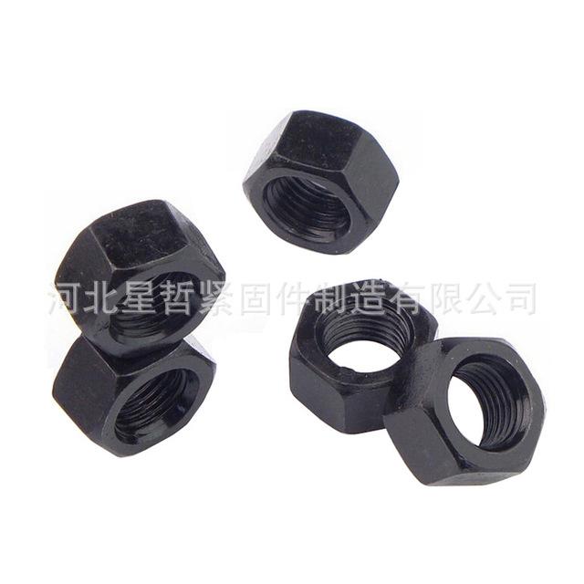 现货供应 碳钢8.8级正反牙高强度螺母 M6-M42 氧化发黑外六角特大螺帽 星然