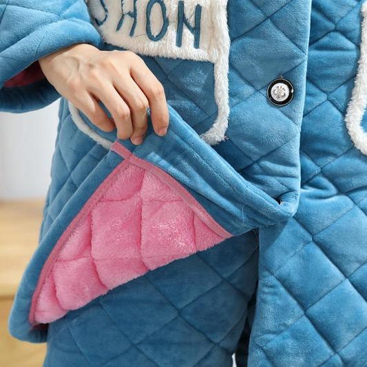 秋梦丝 2019新款 冬季睡衣 加厚珊瑚绒睡衣 夹棉睡衣 家居服套装 厂家直销