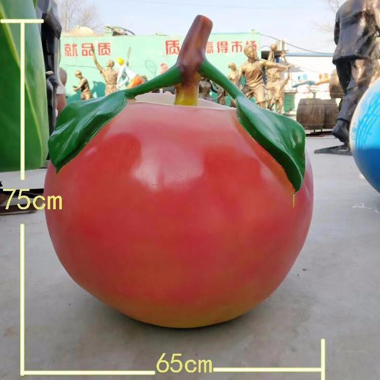 玻璃钢苹果雕塑 仿真水果雕塑 农业生态园蔬菜水果摆件 唐韵园林