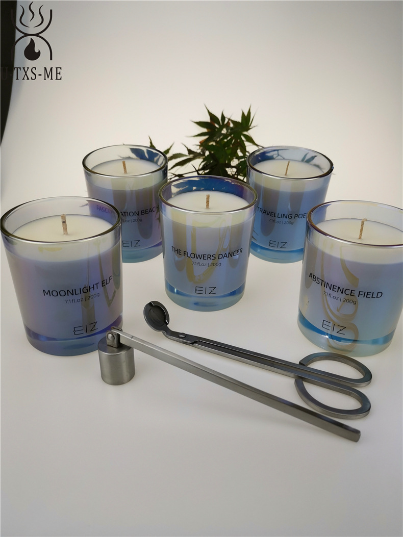 工厂定制七彩珠光玻璃杯家居植物精油环保进口大豆蜡香薰蜡烛示例图3