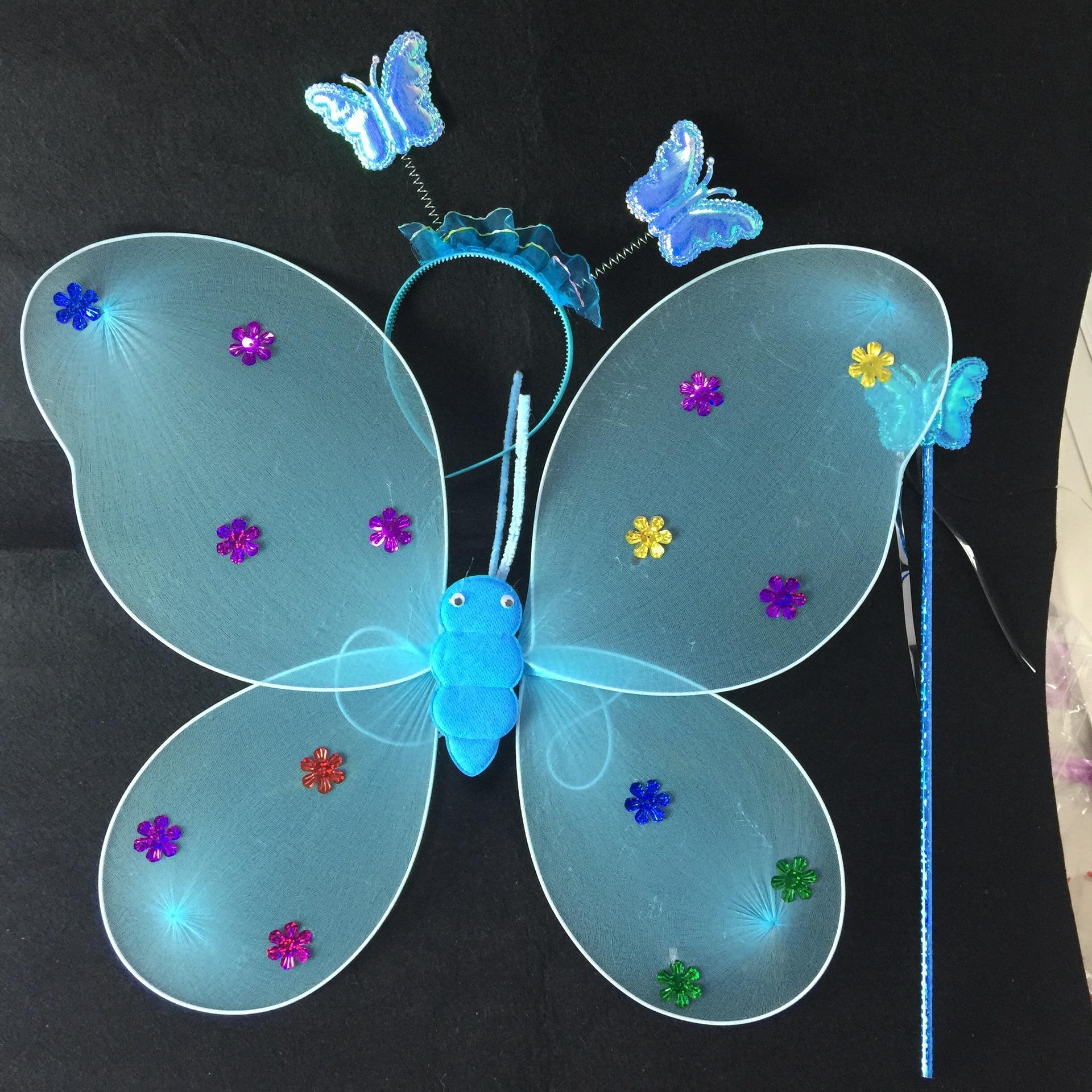 地摊火爆幼儿园景区舞蹈表演道具丝网单层天使蝴蝶翅膀三件套示例图2