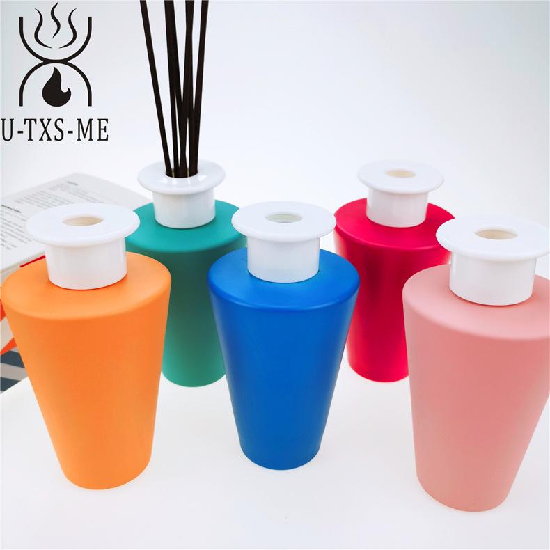 厂家定制新款锥形玻璃瓶家居植物精油环保藤条散香器无火香薰示例图6