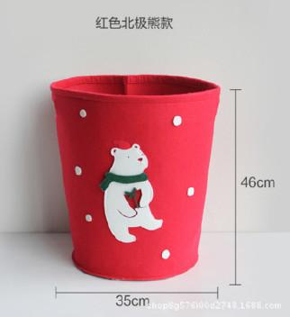 创意卡通不织布收纳桶毛毡玩具杂物收纳筐圣诞节礼物桶 可定制示例图4