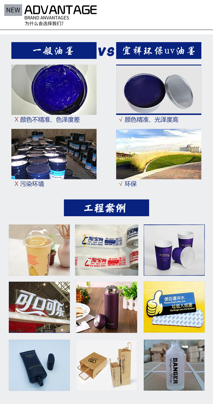 工厂直销环保LED油墨 PET塑料丝印油墨白色 UV紫外线光固化型油墨示例图10
