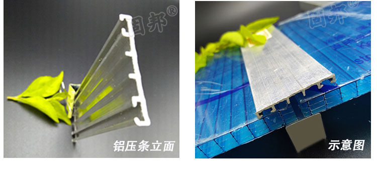 供应38mm斜边压条阳光板耐力板配件 PC阳光板压条示例图4