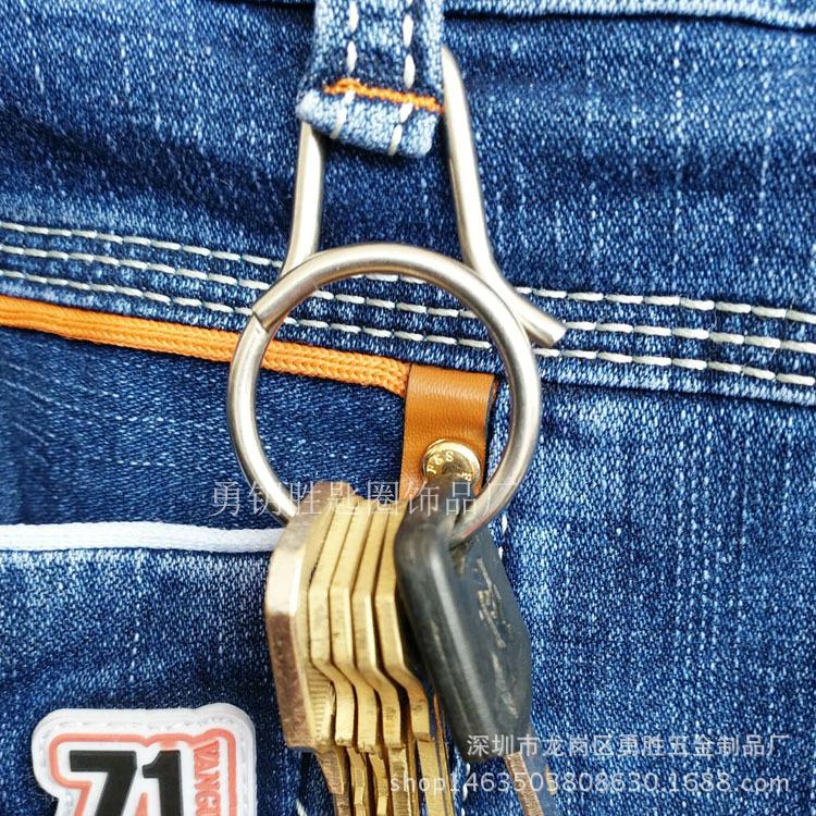 一体快拆式钥匙扣 创意钛合金匙圈挂件 原创设计男女钥匙环示例图3