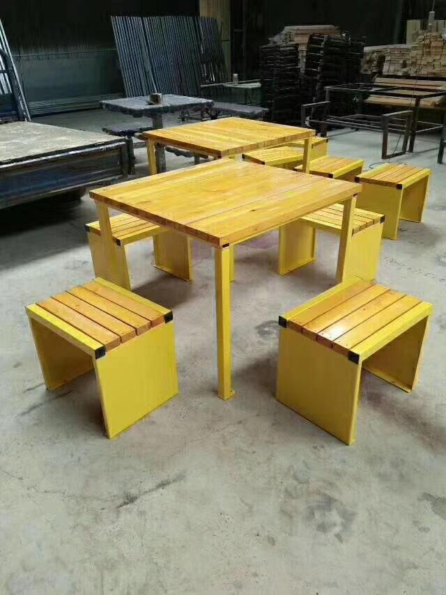 长期供应户外防腐木休闲椅 公园小区座椅 长椅 铸铁腿 实木 塑木示例图15