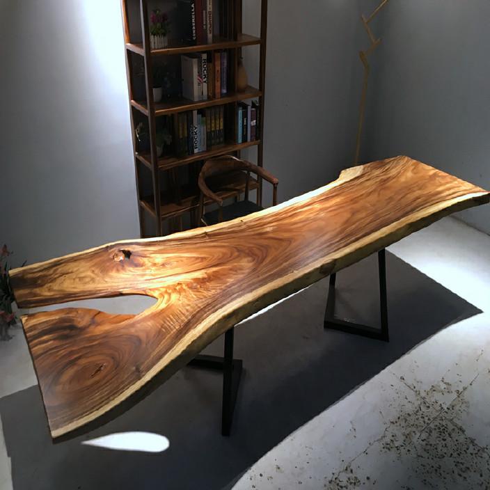 南美胡桃木实木大板餐桌胡桃木原木家具餐桌 南美花梨实木餐桌椅示例图20