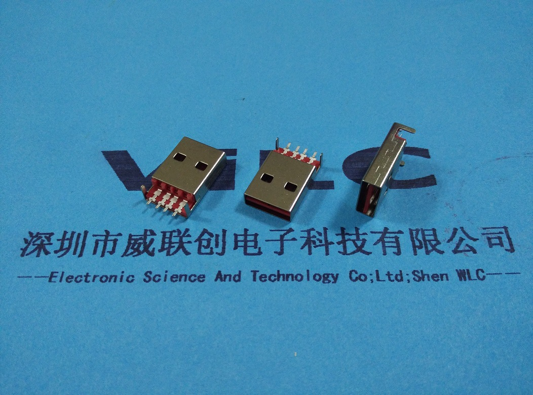 USB2.0 AM镀金双面插公头焊线式A公 白胶 正反插USB公座示例图4