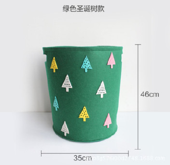 创意卡通不织布收纳桶毛毡玩具杂物收纳筐圣诞节礼物桶 可定制示例图1
