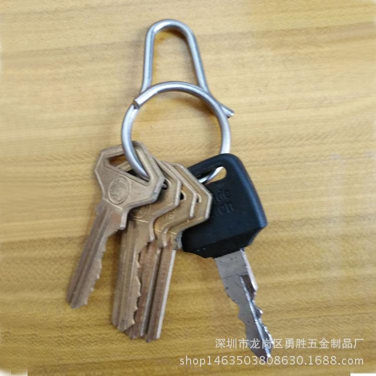 一体快拆式钥匙扣 创意钛合金匙圈挂件 原创设计男女钥匙环示例图6