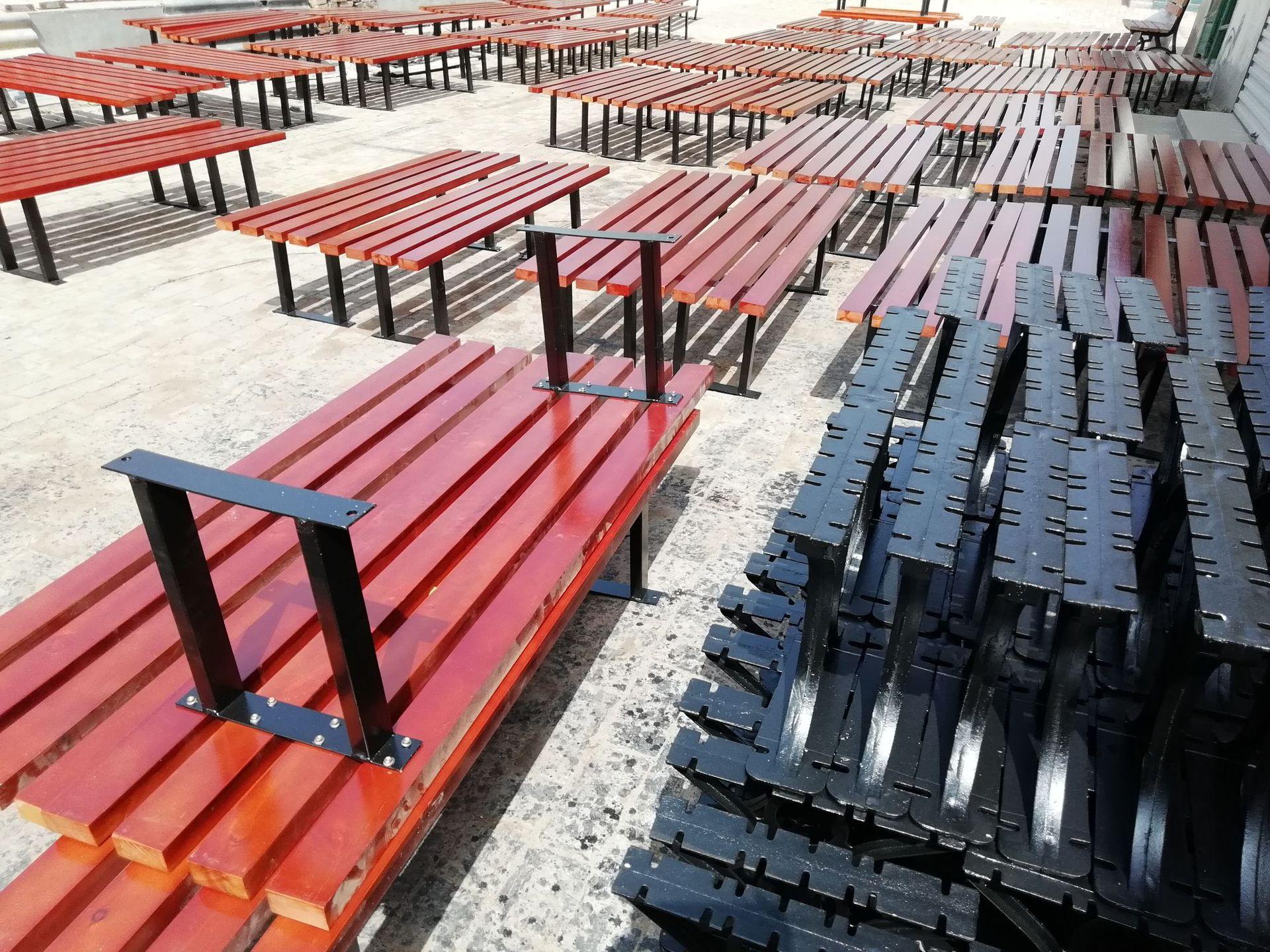 长期供应户外防腐木休闲椅 公园小区座椅 长椅 铸铁腿 实木 塑木示例图23
