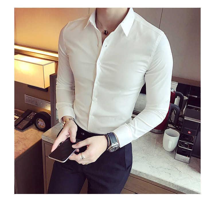 秋季男士长袖白色衬衫修身商务黑色衬衣网红社会潮流衬衫休闲韩版示例图5