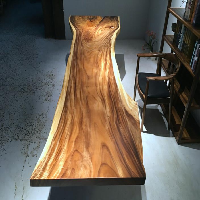 南美胡桃木实木大板餐桌胡桃木原木家具餐桌 南美花梨实木餐桌椅示例图10