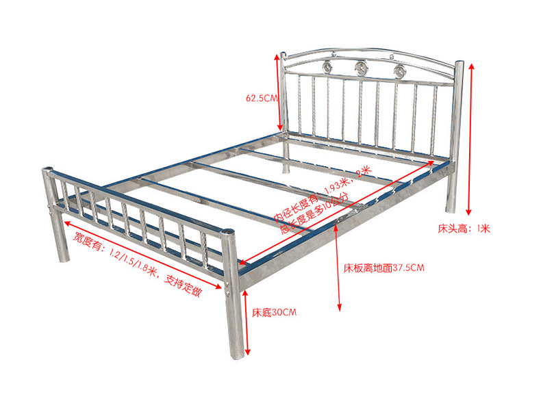 202钢制公寓出租屋床 不锈钢床1.2 1.5 1.8米304不锈钢双人床厂家示例图11