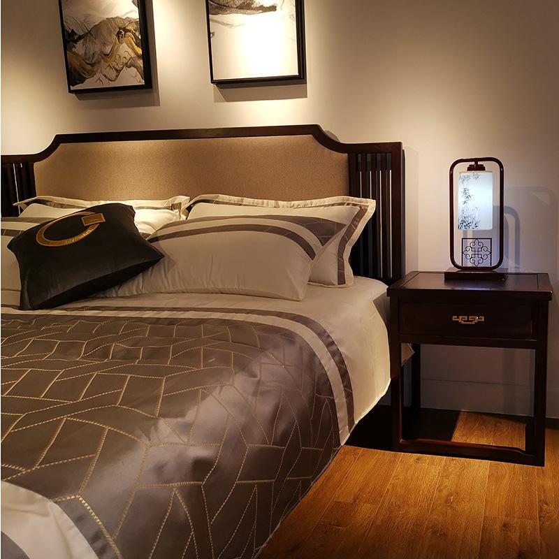 现代新中式竞技宝和雷竞技哪个好床 简约卧室双人床 大婚床乌金木雷竞技靠谱吗 可定制示例图2