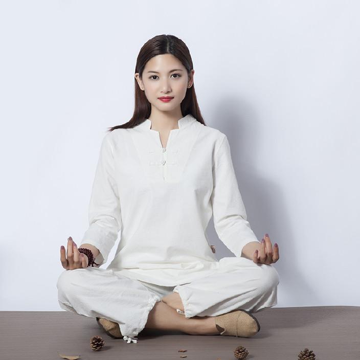 781新款健身衣户外运动棉麻瑜伽服女居士禅修打坐冥想太极服套装
