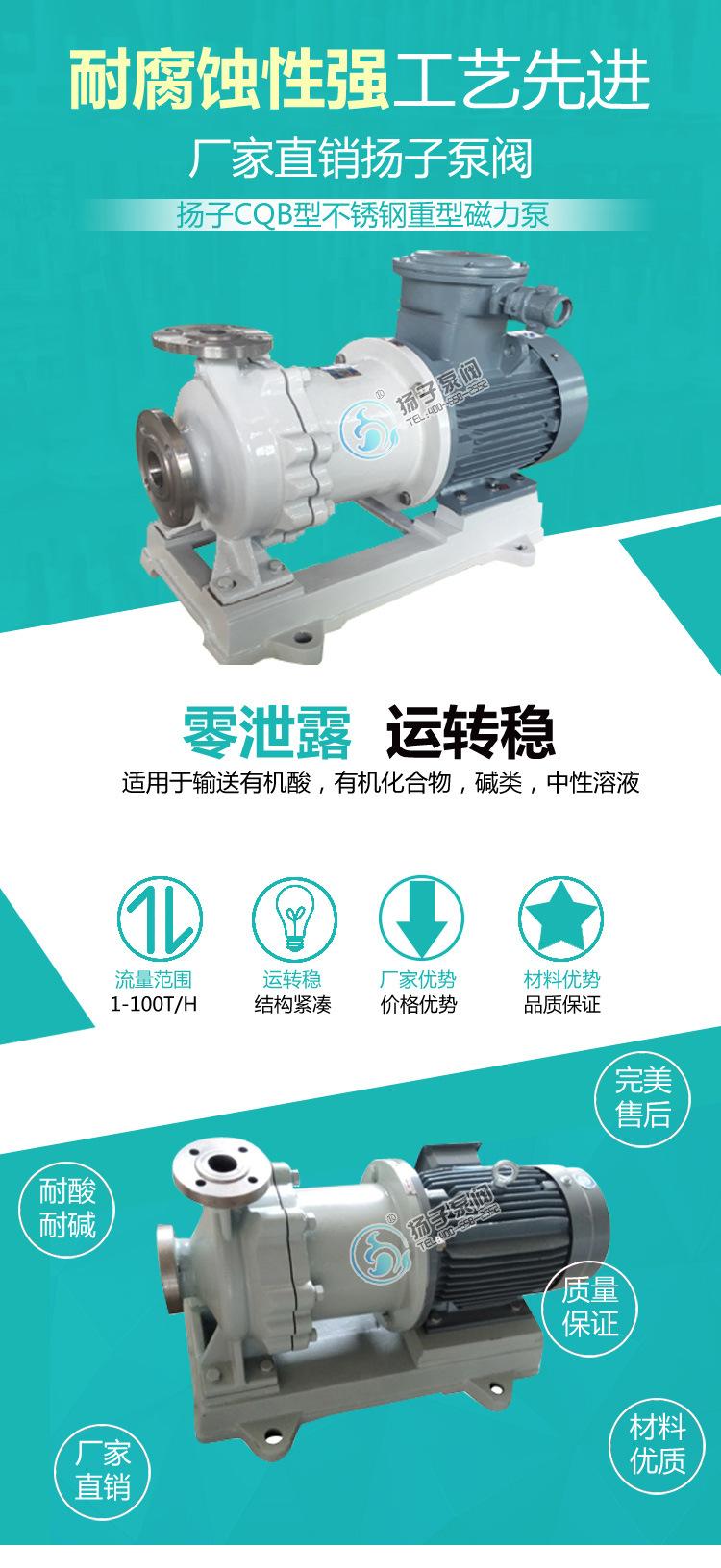 厂家直销 国内磁力泵 防爆不锈钢 耐腐蚀磁力泵 CQB80-65-160P示例图1