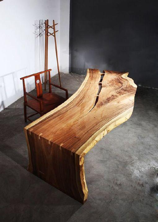 南美胡桃木实木大板餐桌胡桃木原木家具餐桌 南美花梨实木餐桌椅示例图21