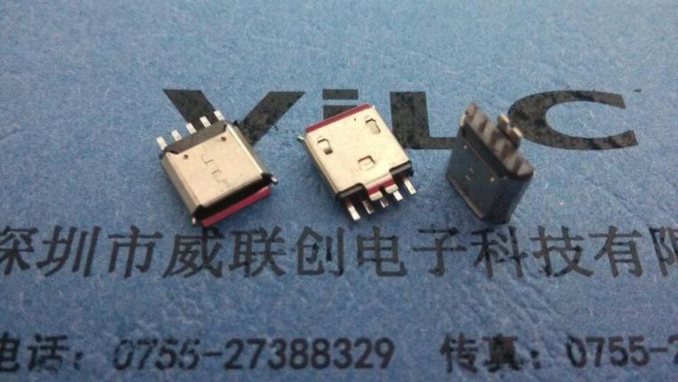 MICRO焊线式母座+带护套【白胶】5P USB半金锡示例图2