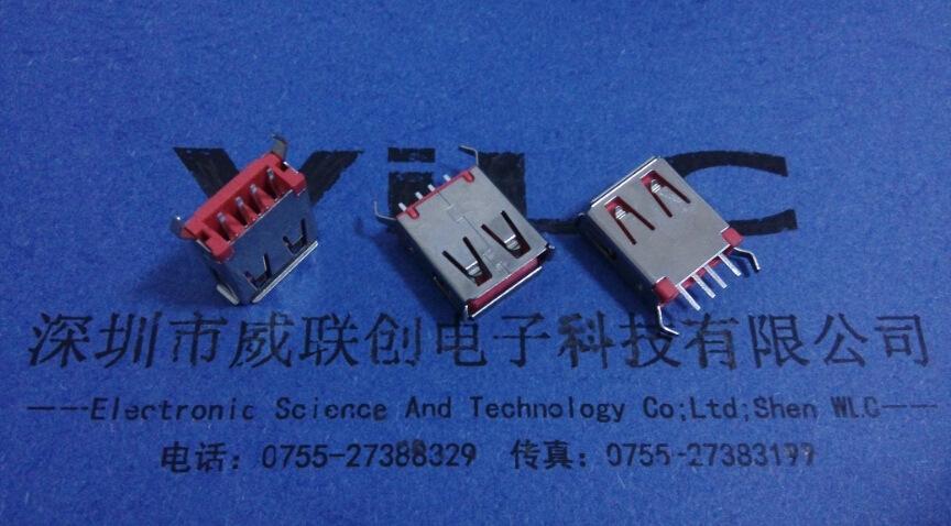 USB直插A母180度USB(13.0-13.7-15.0)加长USB弯脚 红色彩色胶示例图1