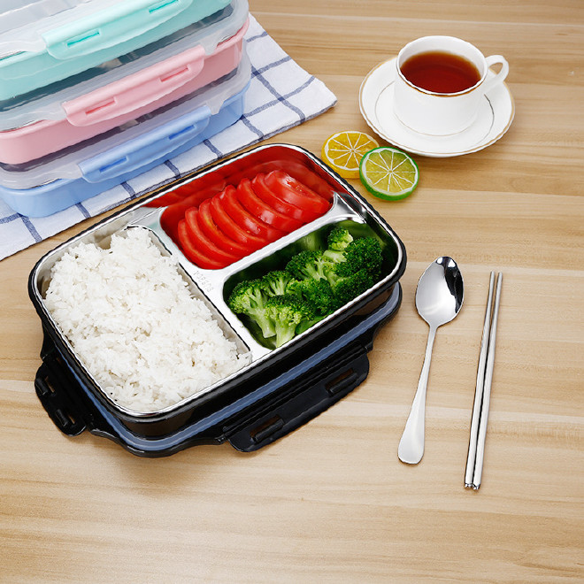 304食品级不锈钢学生便当 多色便携保温饭盒 不锈钢餐具 爆款供应图片