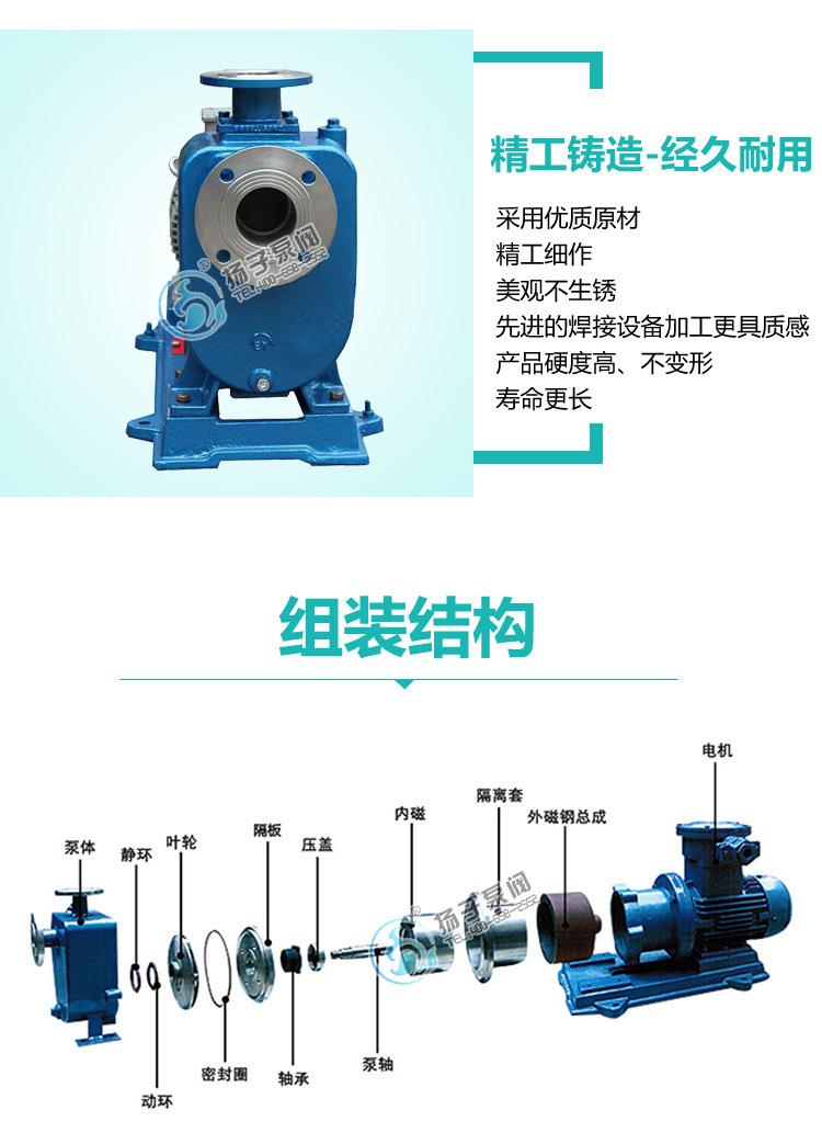 安徽厂家直销 ZCQ32-25-145型不锈钢自吸式磁力驱动泵耐腐泵批发示例图8