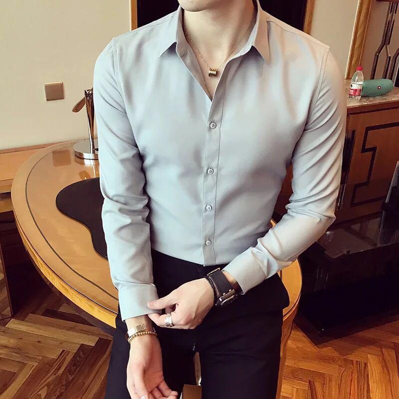 秋季男士长袖白色衬衫修身商务黑色衬衣网红社会潮流衬衫休闲韩版示例图13