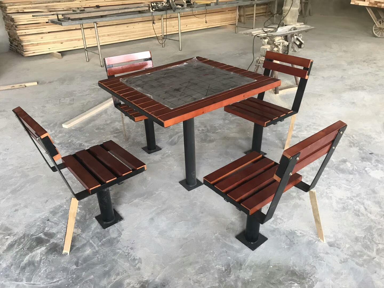 长期供应户外防腐木休闲椅 公园小区座椅 长椅 铸铁腿 实木 塑木示例图9